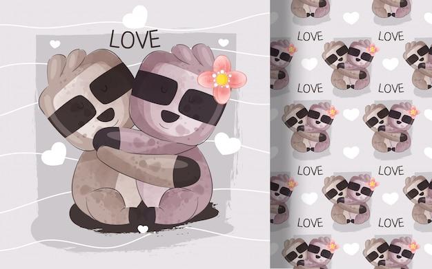Modello senza cuciture delle coppie di bradipo poco carino. illustrazione per bambini