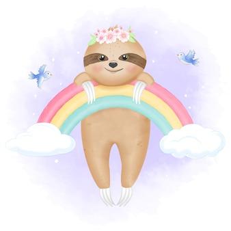 Piccolo bradipo sveglio che appende sull'arcobaleno e sugli uccelli
