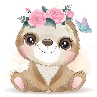 Simpatico bradipo con effetto acquerello