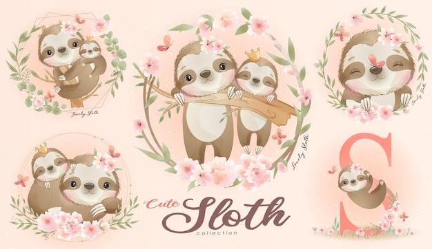 Piccolo bradipo sveglio con l'insieme dell'illustrazione dell'acquerello