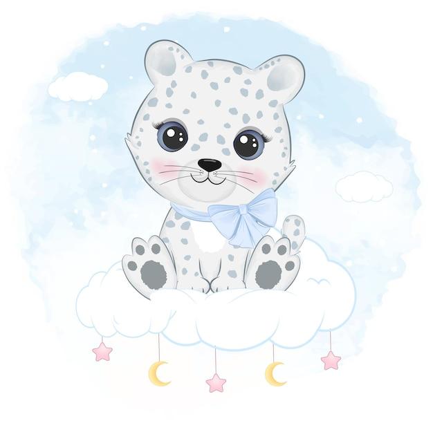 Simpatico leopardo delle nevi seduto sull'illustrazione animale artico della nuvola