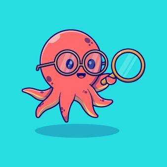Simpatico disegno di illustrazione vettoriale di calamari con gli occhiali e con in mano una lente d'ingrandimento