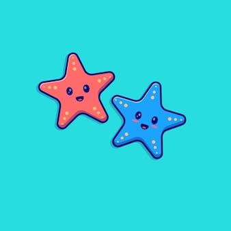 Nuoto di progettazione dell'illustrazione di vettore della mascotte del carattere della piccola stella marina sveglia