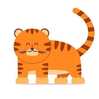 Simpatico personaggio tigre in stile piatto. il simbolo del capodanno cinese 2022. per striscioni, vivai, decorazioni a motivi. illustrazione disegnata a mano di vettore.
