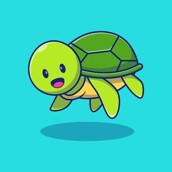 Nuoto di progettazione dell'illustrazione della piccola tartaruga sveglia concetto di design animale isolato premium
