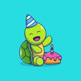 Simpatico disegno di illustrazione vettoriale di piccola tartaruga che mangia torta di compleanno