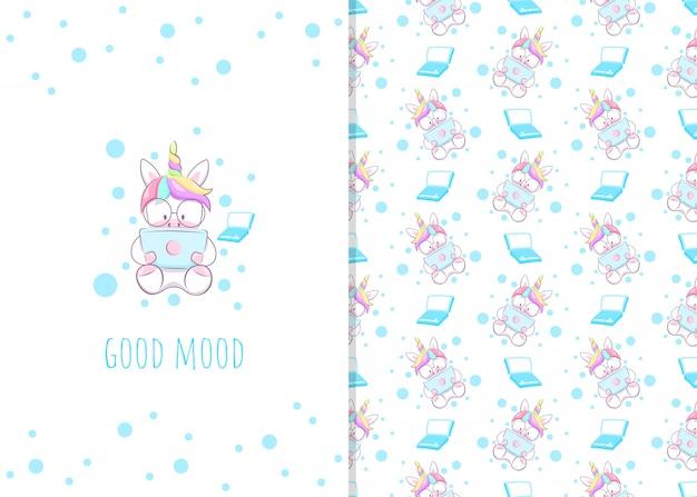 Simpatico personaggio dei cartoni animati unicorno piccolo con laptop, illustrazioni e modelli senza soluzione per i bambini