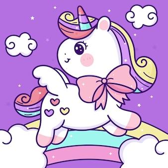 Carino piccolo unicorno cartone animato pegasus pony su dolce arcobaleno kawaii animale