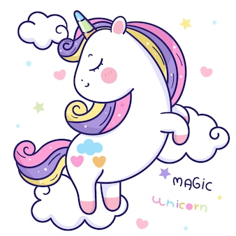 Simpatico pony cartone animato unicorno su animale kawaii nuvola magica