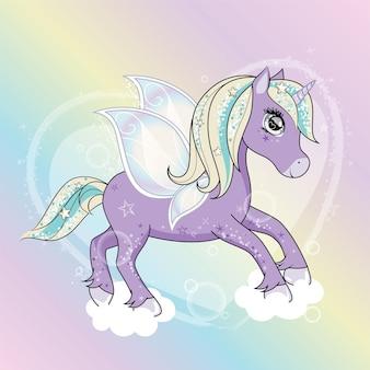 Simpatico personaggio unicorno con ali di farfalla che volano nei cieli