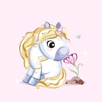 Simpatico personaggio di unicorno con fiore. illustrazione vettoriale, moderni colori pastello.