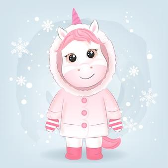 Carino piccolo unicorno illustrazione stagione natalizia