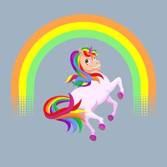 Simpatico unicorno in volo verso l'arcobaleno