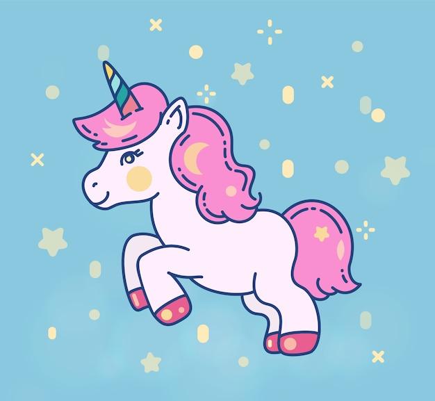 Illustrazione piana di vettore piccolo cavallo unicorno carino.