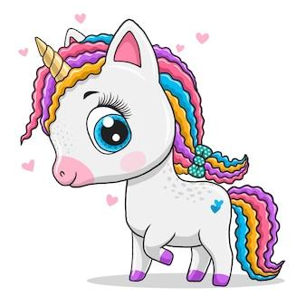 Carino piccolo unicorno isolato su sfondo bianco.