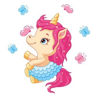 Simpatico unicorno con farfalle cartoon illustrazione vettoriale