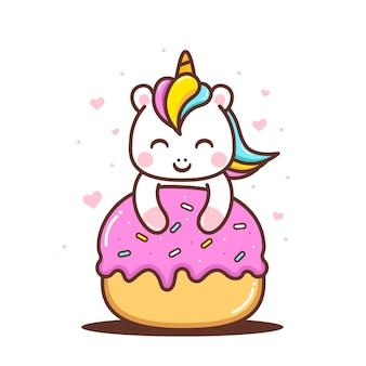 Piccolo unicorno carino con ciambella carina