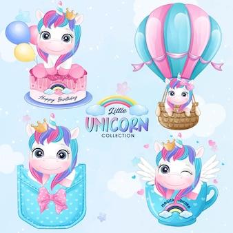 Carino piccolo unicorno con set di illustrazione dell'acquerello