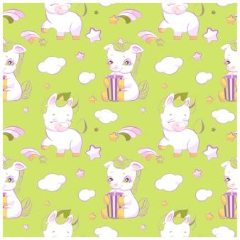 Modello senza cuciture verde piccoli unicorni carino