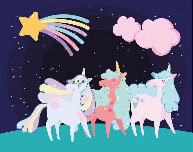 Simpatici piccoli unicorni arcobaleno capelli corno stelle cadenti nuvole sogno cartone animato