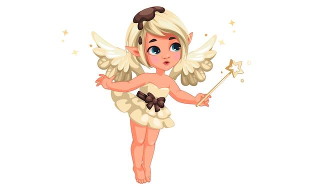 Carino piccola fata di cioccolato alla vaniglia tenendo la bacchetta magica