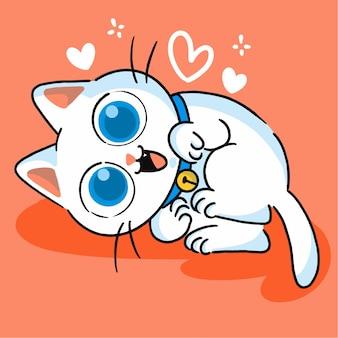 Piccolo gattino bianco sveglio che gioca bene dell'illustrazione di scarabocchio della mascotte
