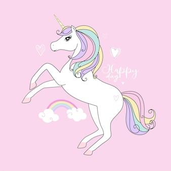 Carino piccolo unicorno bianco. colori tenui pastello.