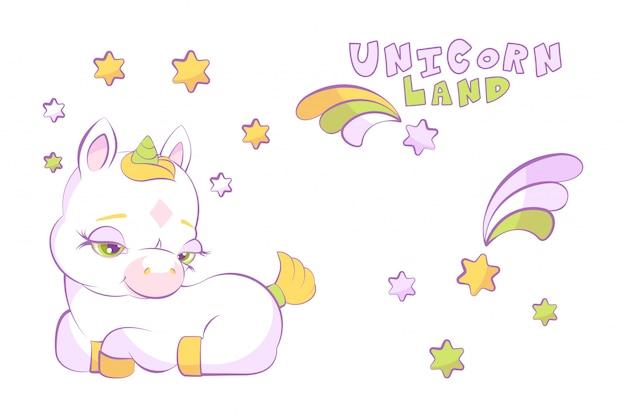 Carino piccolo unicorno bianco in una corona di stelle e stella cadente