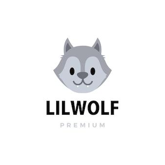 Illustrazione sveglia dell'icona di logo del fumetto del piccolo lupo