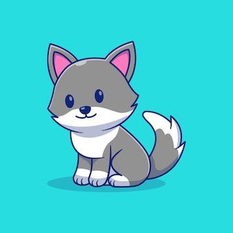 Simpatico disegno di illustrazione vettoriale di piccolo lupo seduto e sorridente