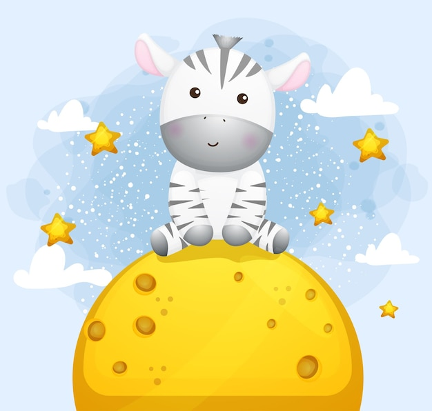 Piccola zebra sveglia che si siede sulla luna