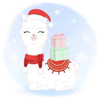 Lama carino con confezione regalo in inverno e illustrazione di natale.