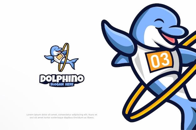 Simpatico logo con delfino sport mascotte animale illustrazione vettoriale