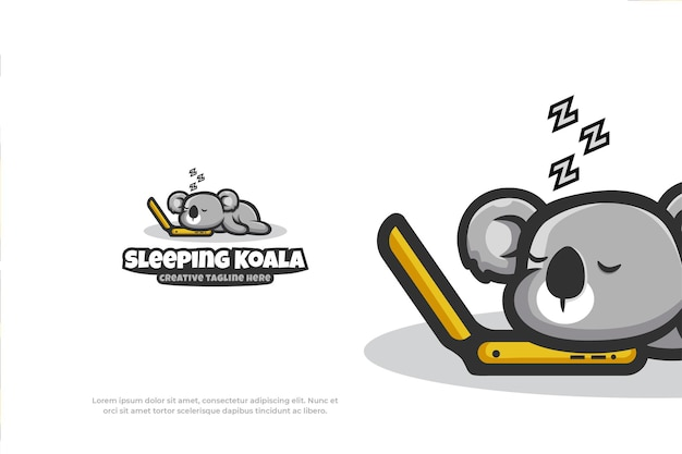Simpatico logo addormentato mascotte koala animale illustrazione vettoriale