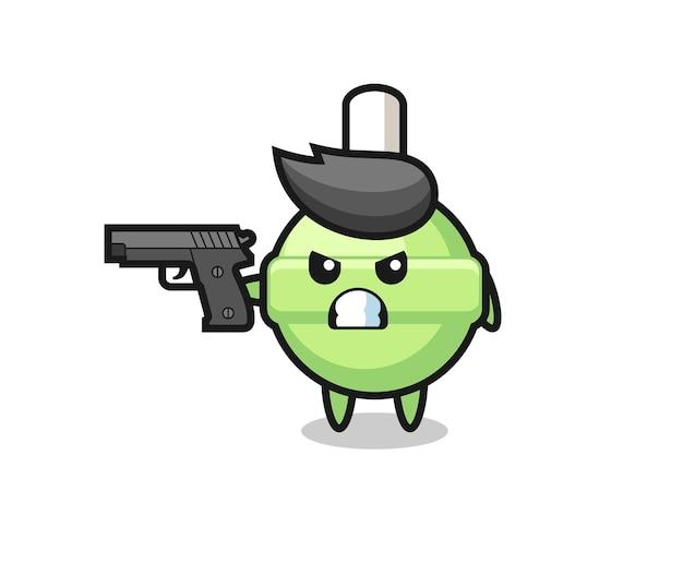 Il simpatico personaggio lecca-lecca spara con una pistola, un design in stile carino per maglietta, adesivo, elemento logo