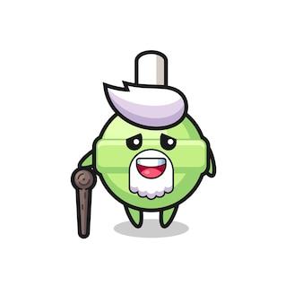 Il simpatico nonno lecca-lecca tiene in mano un bastone, un design in stile carino per maglietta, adesivo, elemento logo