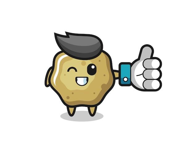Simpatici sgabelli sciolti con simbolo del pollice in alto dei social media, design in stile carino per maglietta, adesivo, elemento logo