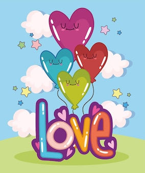 Amore carino e palloncini