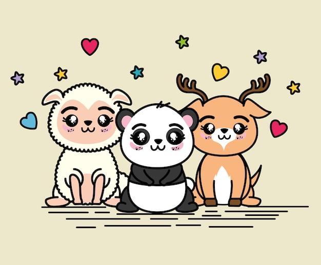 Progettazione grafica dell'illustrazione di vettore del fumetto degli animali svegli e adorabili Vettore Premium