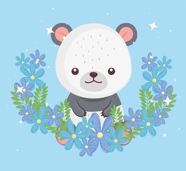 Carino adorabile, orso panda con disegno di illustrazione di fiori
