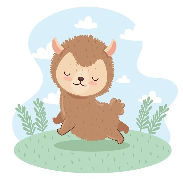 Carino adorabile, agnello nel disegno dell'illustrazione del campo