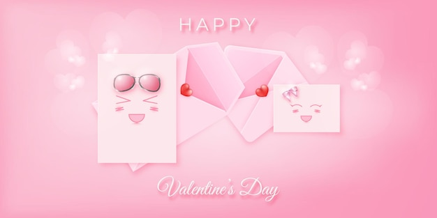 Lettera emoji rosa carina e adorabile per il banner di san valentino