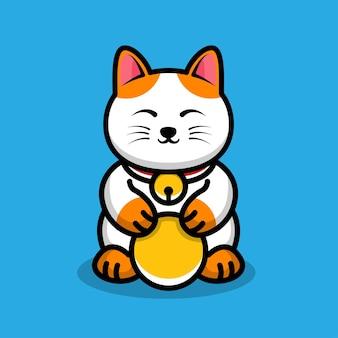 Illustrazione di cartone animato carino gatto fortunato