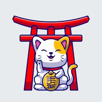 Illustrazione dell'icona di vettore del fumetto del gatto fortunato sveglio concetto dell'icona di affari degli animali isolato vettore premium