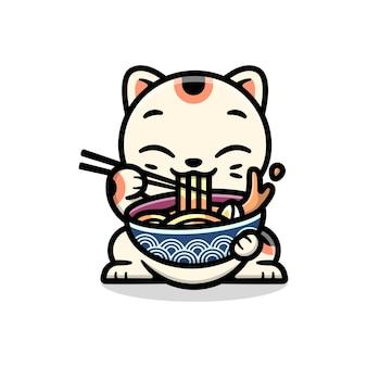 Sveglio gatto fortunato che mangia una ciotola di ramen cartoon personaggio