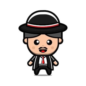 Simpatico cartone animato uomo mafioso