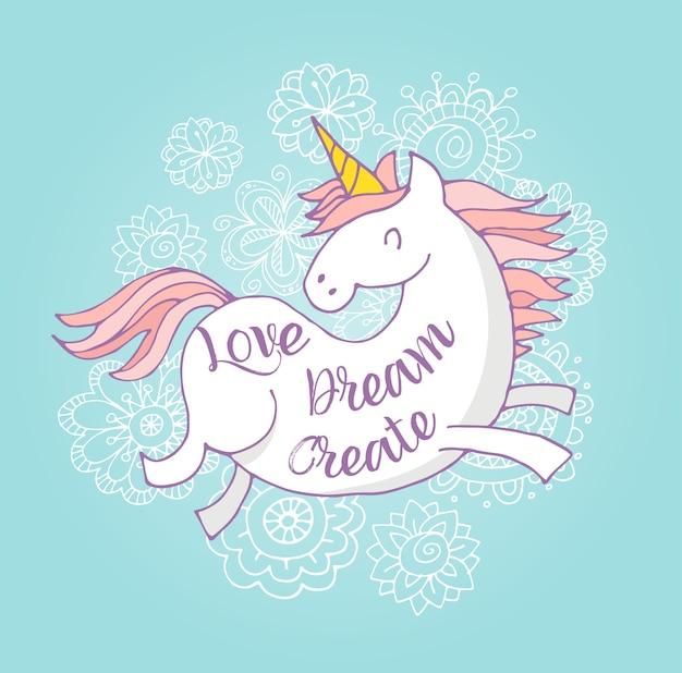 Poster magico carino unicon e arcobaleno, biglietto di auguri di compleanno