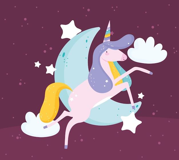 Simpatico unicorno magico e luna