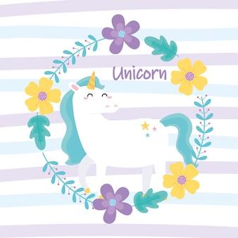 Carino unicorno magico fiori fumetto animale strisce illustrazione vettoriale