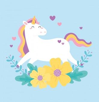 Carino unicorno magico fiori cuori amore fumetto animale illustrazione vettoriale